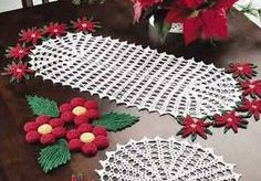 como hacer camino de mesa en crochet para navidad