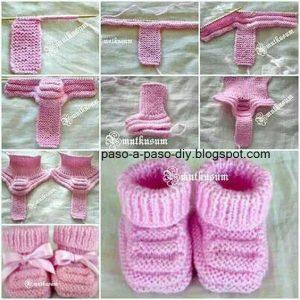 como hacer zapatitos de bebe con dos agujas