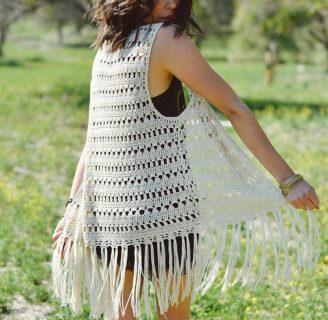 como hacer un chaleco en crochet con flecos y punto calado