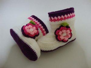 como hacer escarpines de bebe a crochet