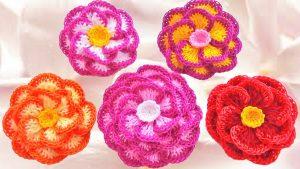 como hacer flores a crochet faciles